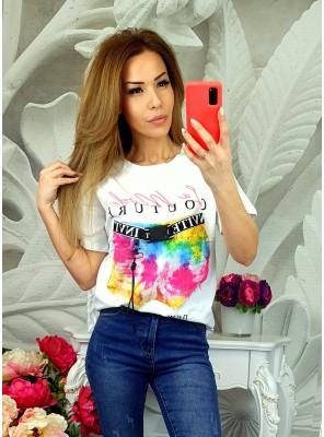 тениска color бяла