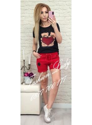 къси панталонки с връзки червени