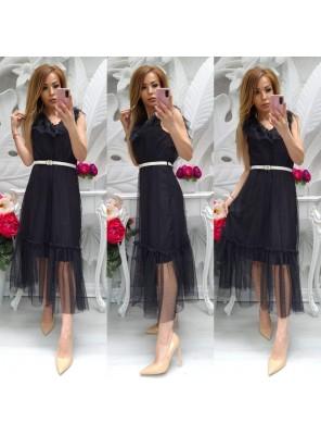 рокля с тюл черна