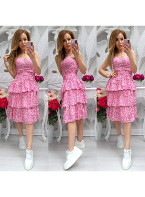 рокля 3 воала розова
