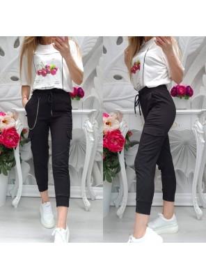 панталон с връзки черен