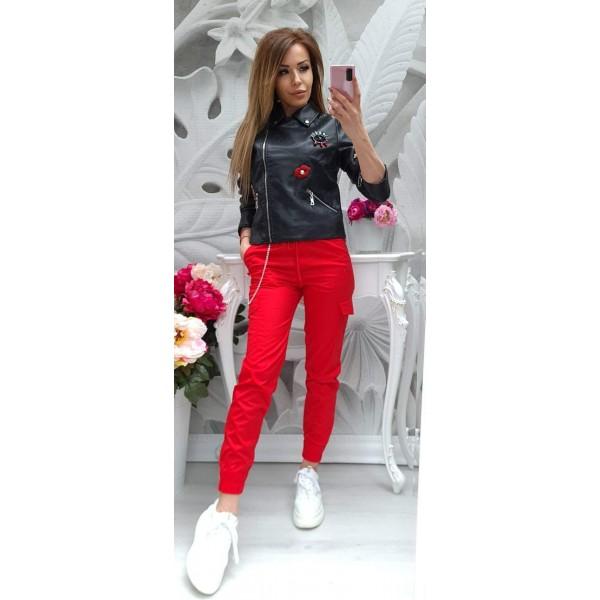 панталон с връзки червен